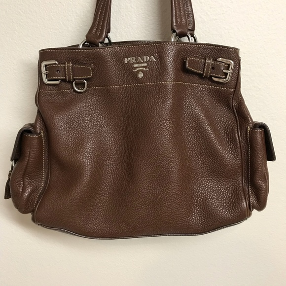 efaa4826fd4 Prada Bags | Side Pocket Belt Vitello Daino Leather Bag | Poshmark